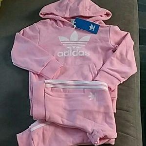 Adidas jogging pink sweat suit hoodie & pants 4/5